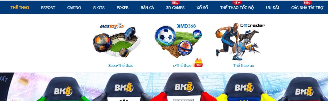 Nhà cái BK8 cung cấp những trò chơi nào